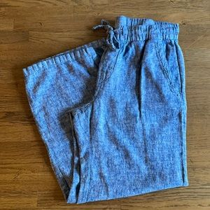 Old Navy wide leg linen chambray pants petite med